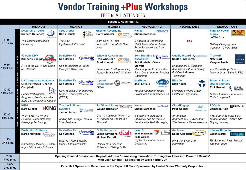 Leading RV Industry Companies Set to Present Vendor Training